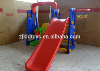 Indoor And Outdoor Plastic Slide And Swing Set For Kids