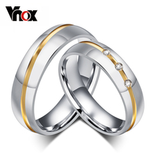 fashion wedding rings for couples stainless steel ring with AAA CZ diamond jewelry never rust