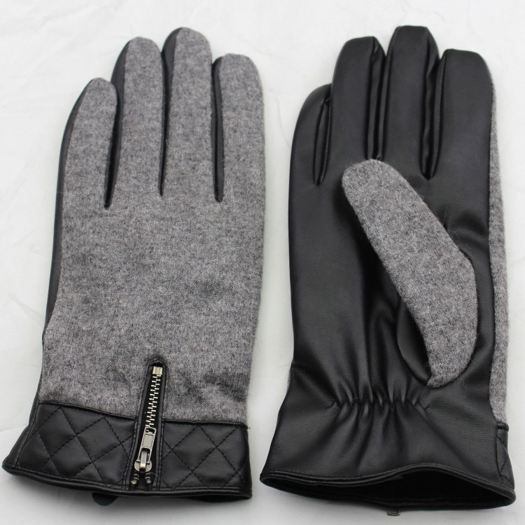 2016 men 's fashion woolen connect PU leather glove with zipper