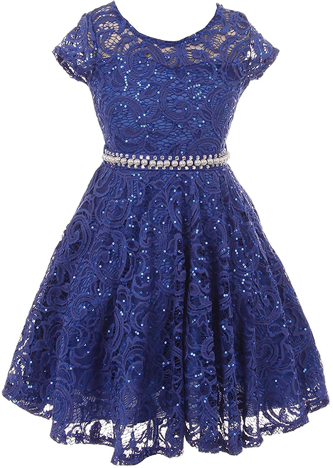 a69d8ba38ed Get Quotations · iGirldress Cap Sleeve Floral Lace Glitter Pearl Holiday Party  Flower Girl Dress (Size 4-