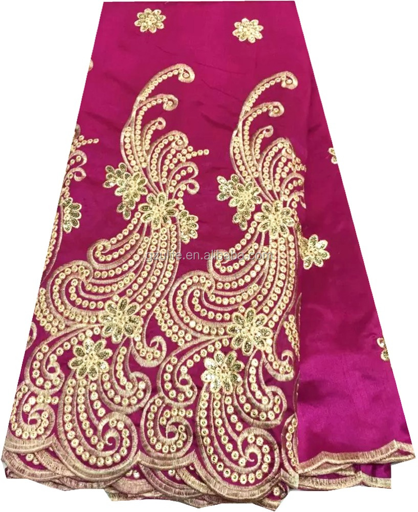 100% Raw Silk Cotton Fuchsia African George lace fabric/Sequin fabric Nigerian Wedding dress(G1050)
