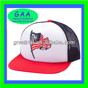 Clean design 5-panel foam mesh trucker cap custom american flag mesh trucker cap