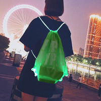 2019 cheap high quality led fiber optic flashing safety OEM logo led outdoor sport backpack flashing bag