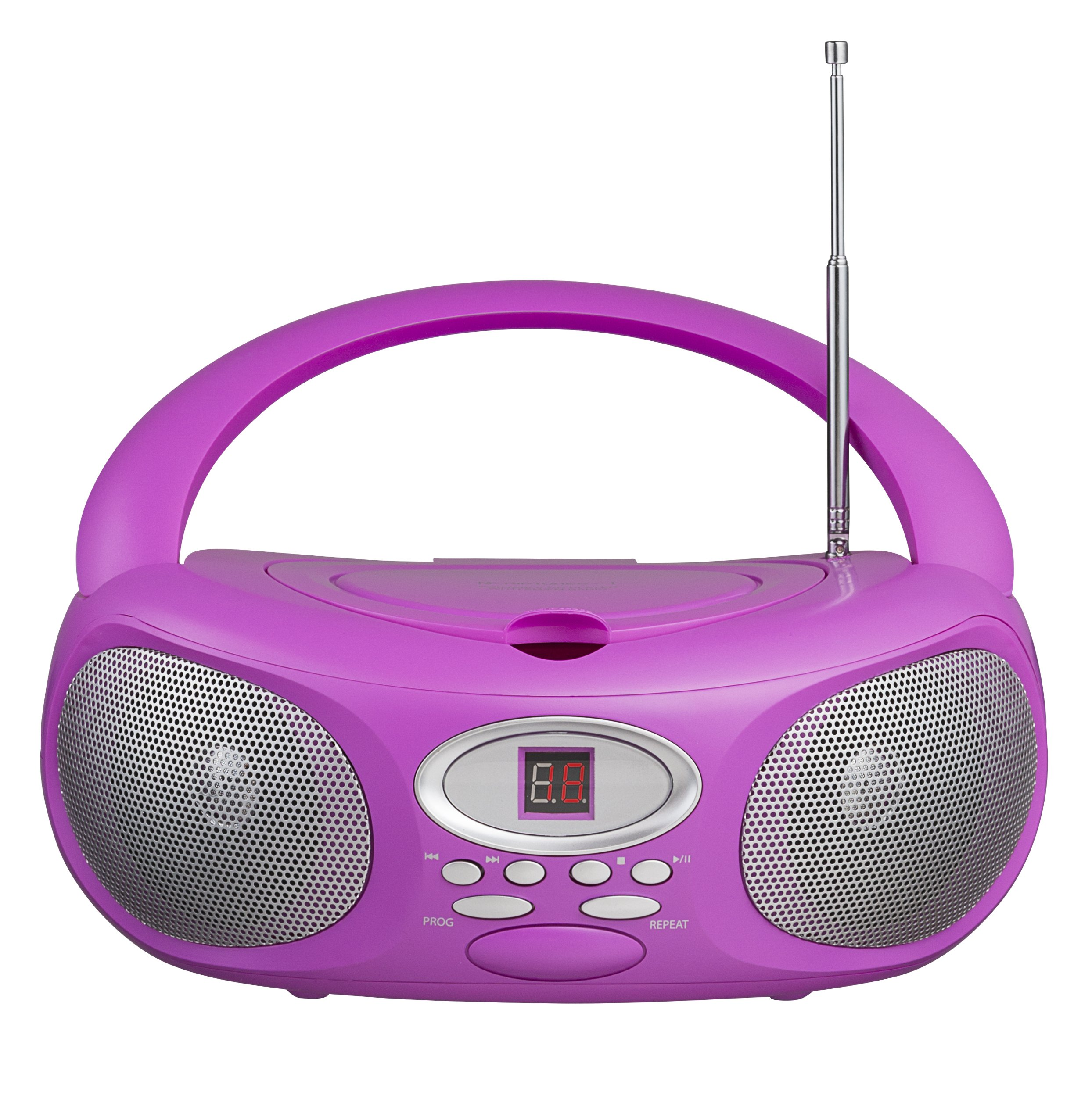 Riptunes CDB220P Portable Music CD Boombox Player, AM/FM Radio, 3.5MM Auxiliary-in & Headphone Jack, LED Readout Display, Pink