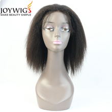 2017 new style from Qingdao 10A grade natural Color kinky straight Chinese virgin Human Hair Lace Front Wig