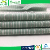 Mill price 100 cotton poplin brushed green and white stripe fabric
