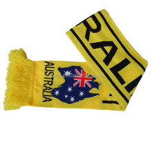 Acrylic Winter Knitted Yellow Black Football Team Fan Club Scarves