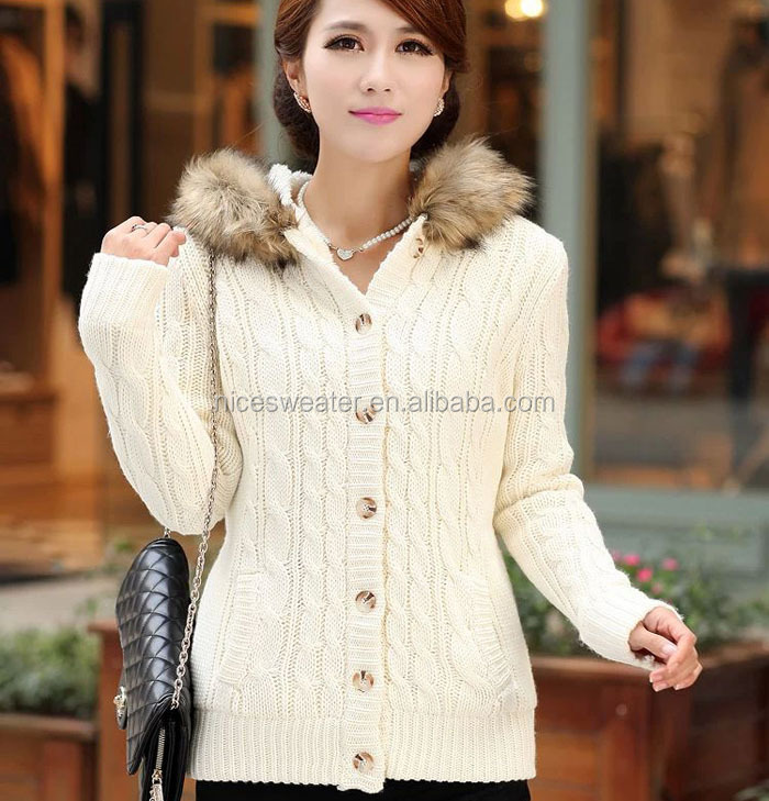 2014 Ladies Fashion Fur Collar Women Cable Knit Pattern Acrylic ...