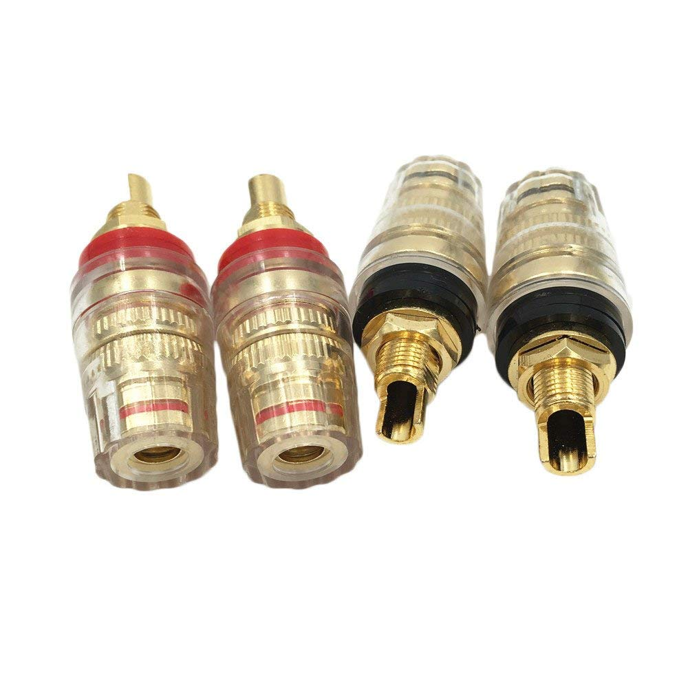 4 Pcs Pure Copper Gold Plated 4mm Banana Plug Terminal Binding Post for Speaker Amplifier Red and Black