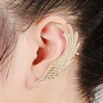 Hot Ear Cuff Clip Gold Feather Earring Anti Allergic Earrings For Women