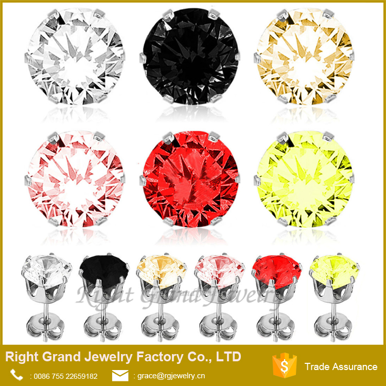 Cubic Zirconia Earrings Round Cut Claws Setting 316L Stainless Steel Ear Piercing Studs