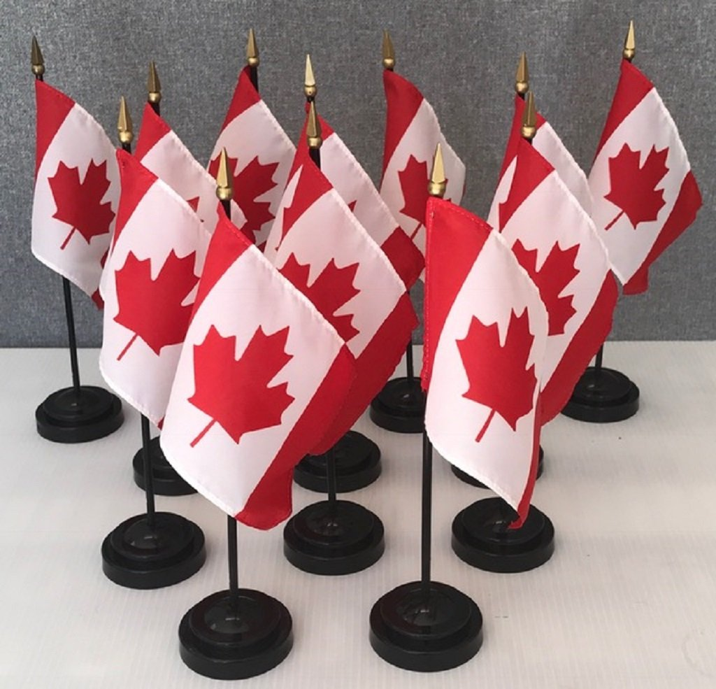 "Made in the USA!! Box of 12 Canada 4""x6"" Miniature Desk & Table Flags Includes 12 Flag Stands & 12 Canadian Small Mini Stick Flags"