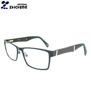 de7722f361 Eyeglasses new stylish metal optical frame stainless spectacle frame with  Nature Wood Temples Eyeglasses