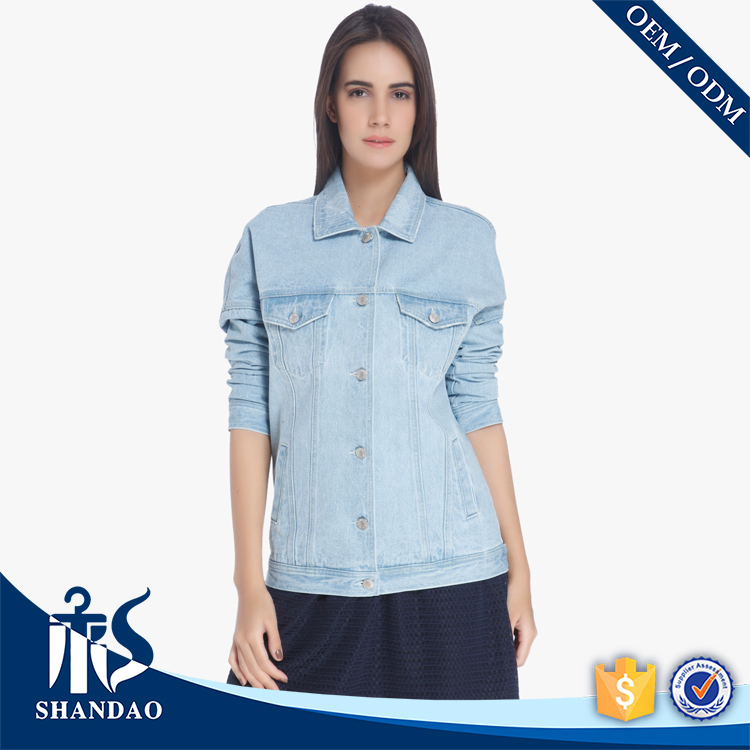 Shandao OEM Button Front Two Side Pocket Casual Light Blue Ladies Highend Quality Jean Jacket Denim
