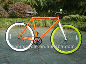 700c Classic With Orange Color Frame And Colorful Rims Specialized Hot Sale  Colourful Fixed Gear Bike - Buy 700c Colourful Fixed Gear Bike,Colorful