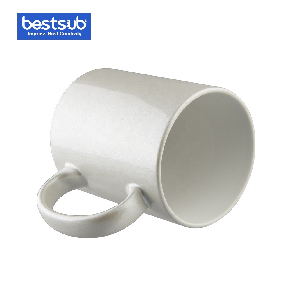BestSub Sublimation 11oz Personalised Ceramic Heated Coated Glittering Coffee Mugs Pearl White B17BZ