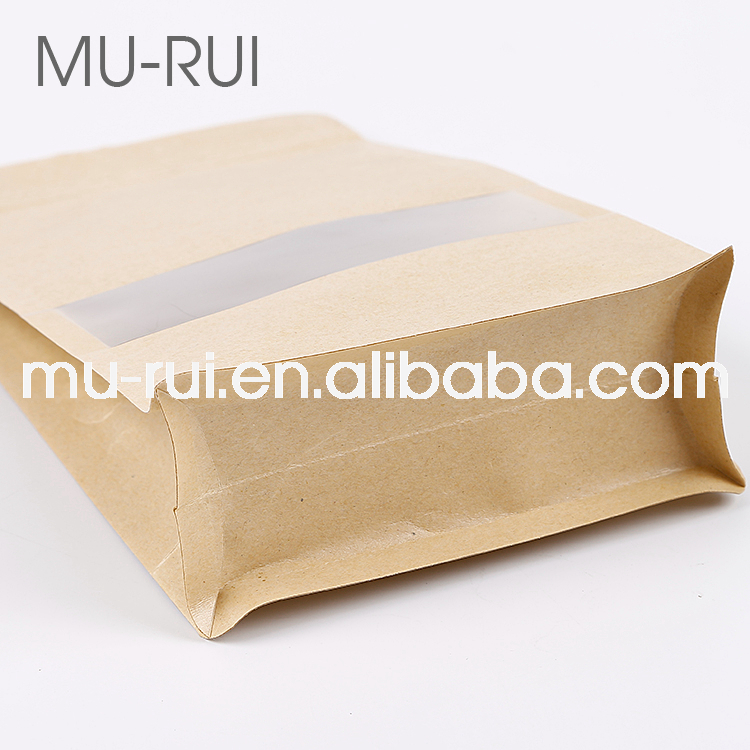 2018 hot sale recyclable kraft paper bag with ziplock bakery bag with window