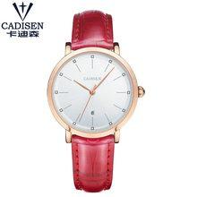 Женские кварцевые часы Cadisen, кварцевые аналоговые часы из искусственной кожи, подарок, 2019(Китай)
