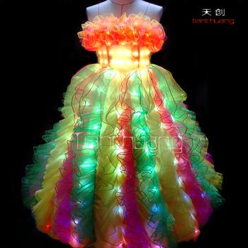 Dmx 512 Controlled Lights Led Dance Costumes Light Wedding Dress Party Wear