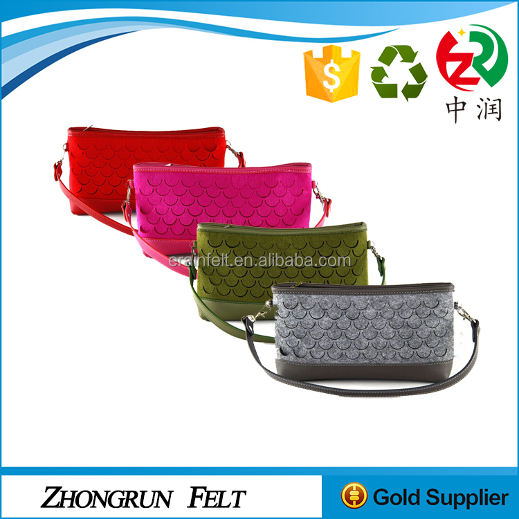 Customized promotional Recycled felt bag One shoulder Leisure style felt bags small felt bag