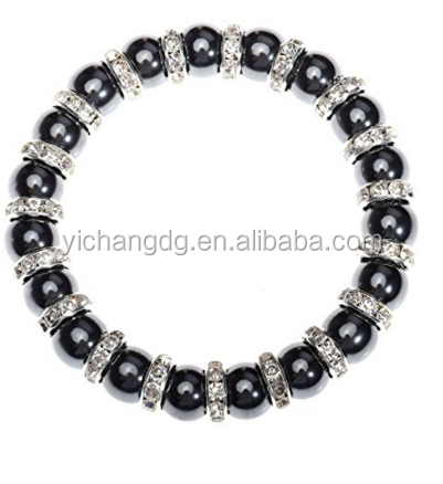 Beautiful Design Black Powerful Round Bead With Cz Stone Bracelet