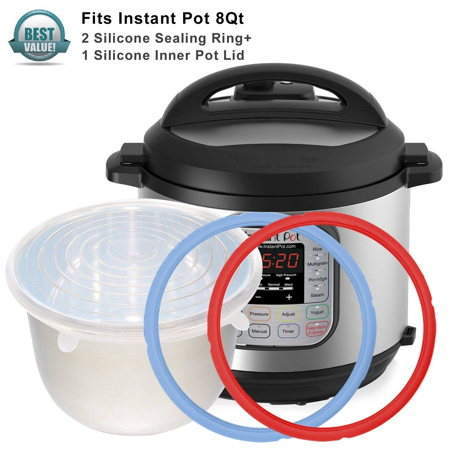 2pcs Instant Pot Silicone Sealing Ring & 1 Inner Pot Lid Combo , Seal Lasting & BPA-free Made By Pure Silicone , Fits IP-DUO80 , IP-LUX80 , 8Qt By Treasuree