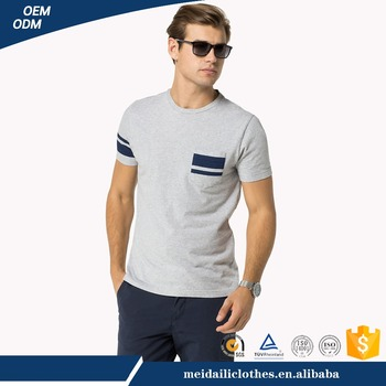 Guangzhou Meidaili Garment Casual 160g 100% Cotton O-Neck Short Sleeve with Pocket Men t shirts