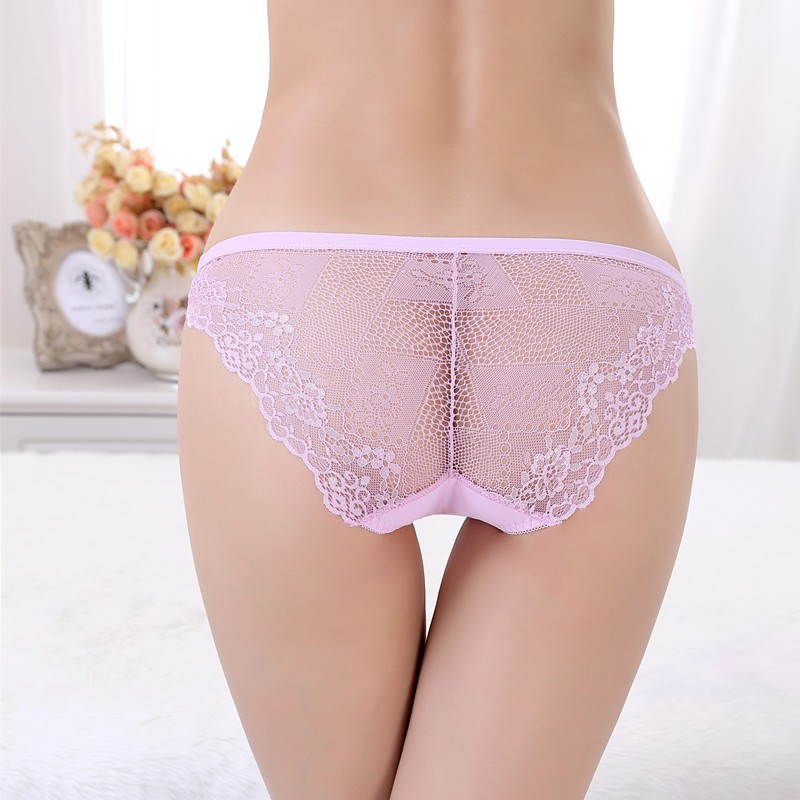 Black thong panties in stretch silk and chantilly lace