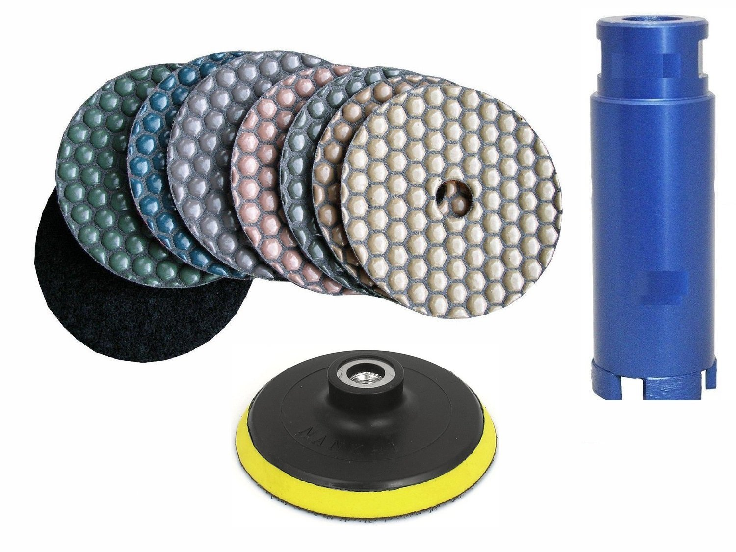 "Diamond Polishing Pad 4"" Dry 9+1 Pieces 1 1/4"" 32mm Diamond Core Drill Bit Hole Saw Granite Concrete Marble Travertine Terrazzo sink hole cutout"