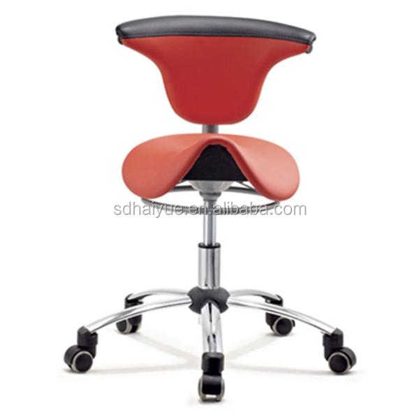 New Red Pu Leather Ergonomic Dental Saddle Stool Bar Chair