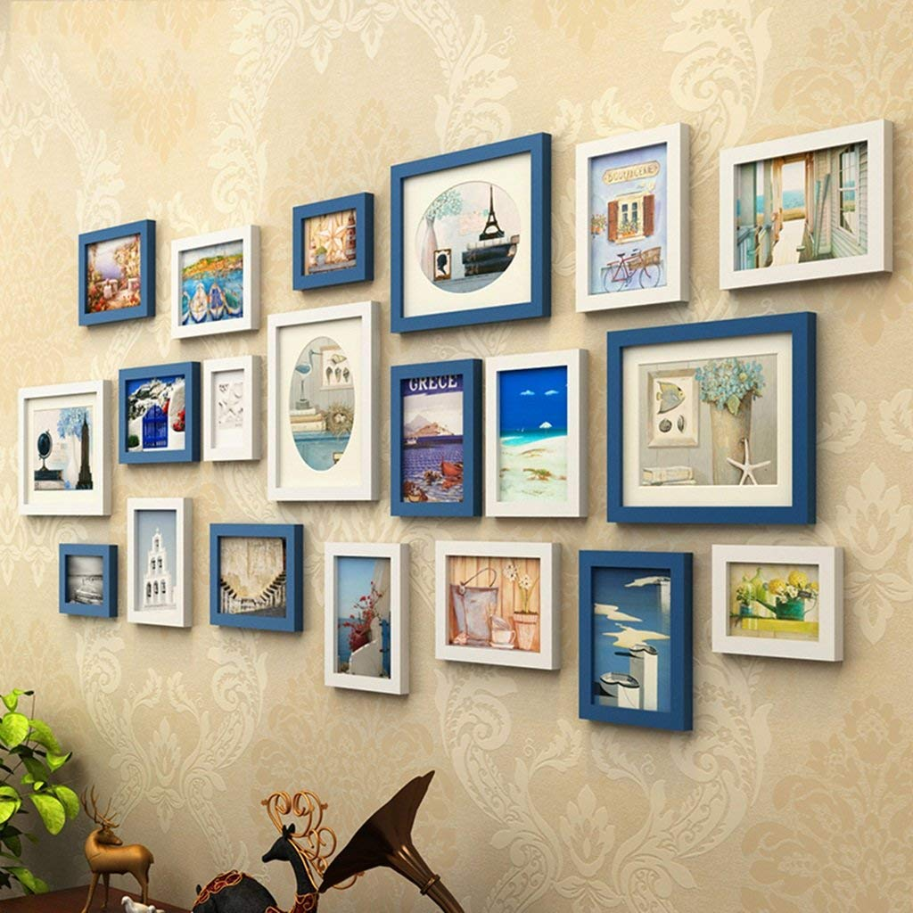 Home@Wall photo frame Photo Gallery Frame Set Of Wall With Usable Artwork And Family, Set Of 20 ( Color : D )