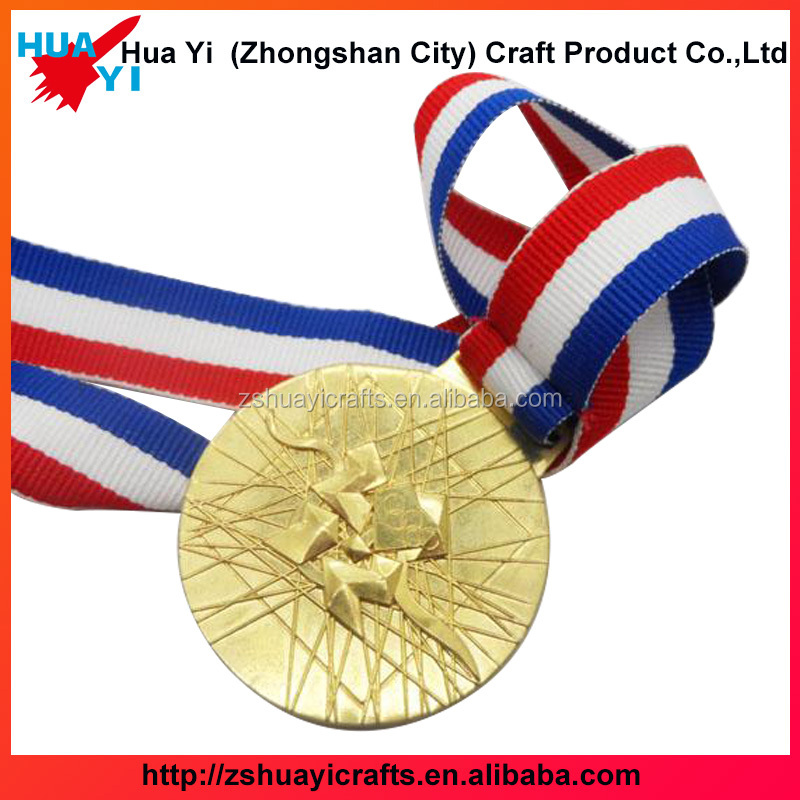 2017 new design zinc alloy plating gold medals awards with ribbons