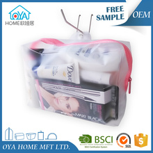 Clear frosted pvc plastic personal care packaging travel makeup cosmetic pouch with hang hole