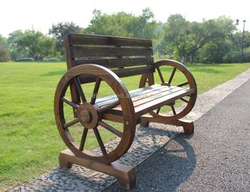 Garden Bench Patio Wooden Wagon Wheel