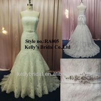 plain white satin with embroidered tulle gauze lace mermaid wedding dresses liquidation