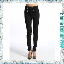 Hot Design Multi Button Super High Waisted Black Denim Woman's Skinny Leg Jeans
