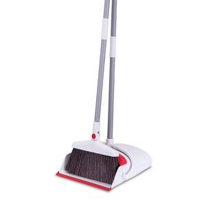 Lobby Dustpan and Broom Set 48-inch Long Handle Upright Dust Pan with Teeth for Clean Hardwood Floor Kitchen and Pet Hair