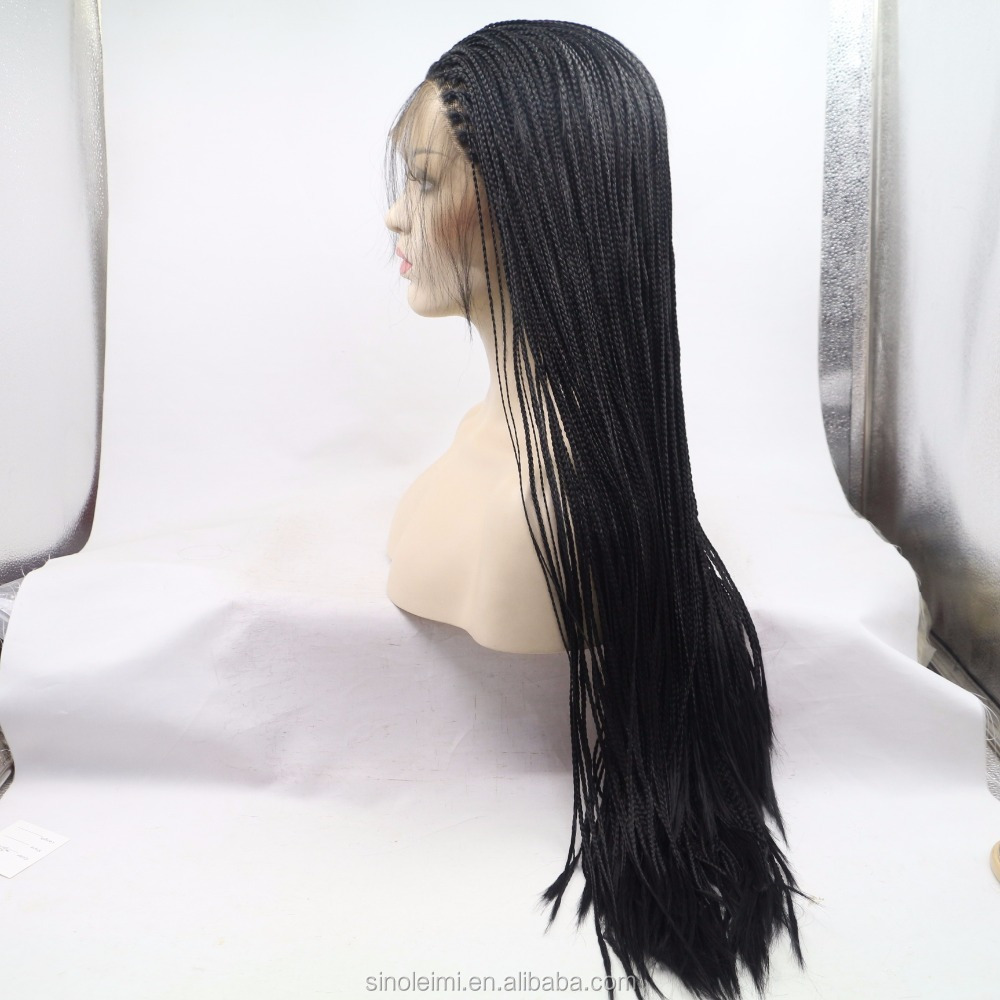Black color synthetic lace front wig 28inch twist braided wigs for black women