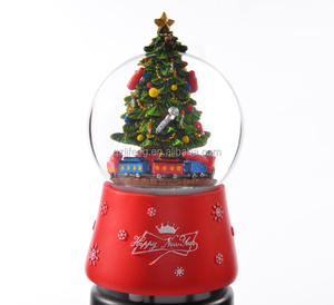 Led light merry christmas snow globe with music blowing snow with music