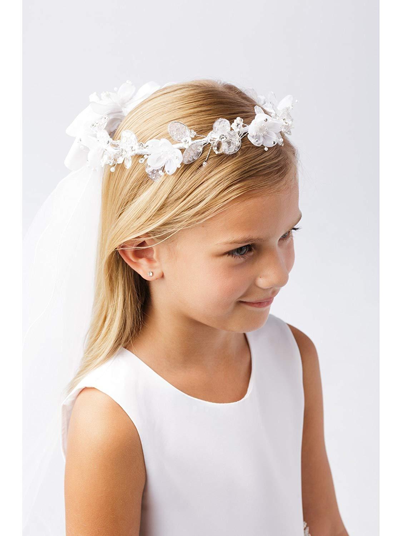 Cheap crown for flower girl find crown for flower girl deals on get quotations girls white shiny glitter floral ornate crown communion flower girl veil izmirmasajfo