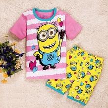 Kids Clothing set New summer Baby Sleepwears Despicable me Suits Boys minion Pajamas Children Pyjamas Girls