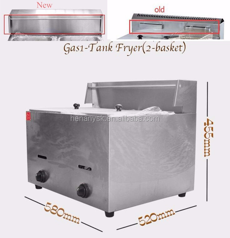 6L*2 Tank with 2 Basket Professional Design Stainless Steel Counter Top KFC Chicken Potato French LPG Gas Fryers