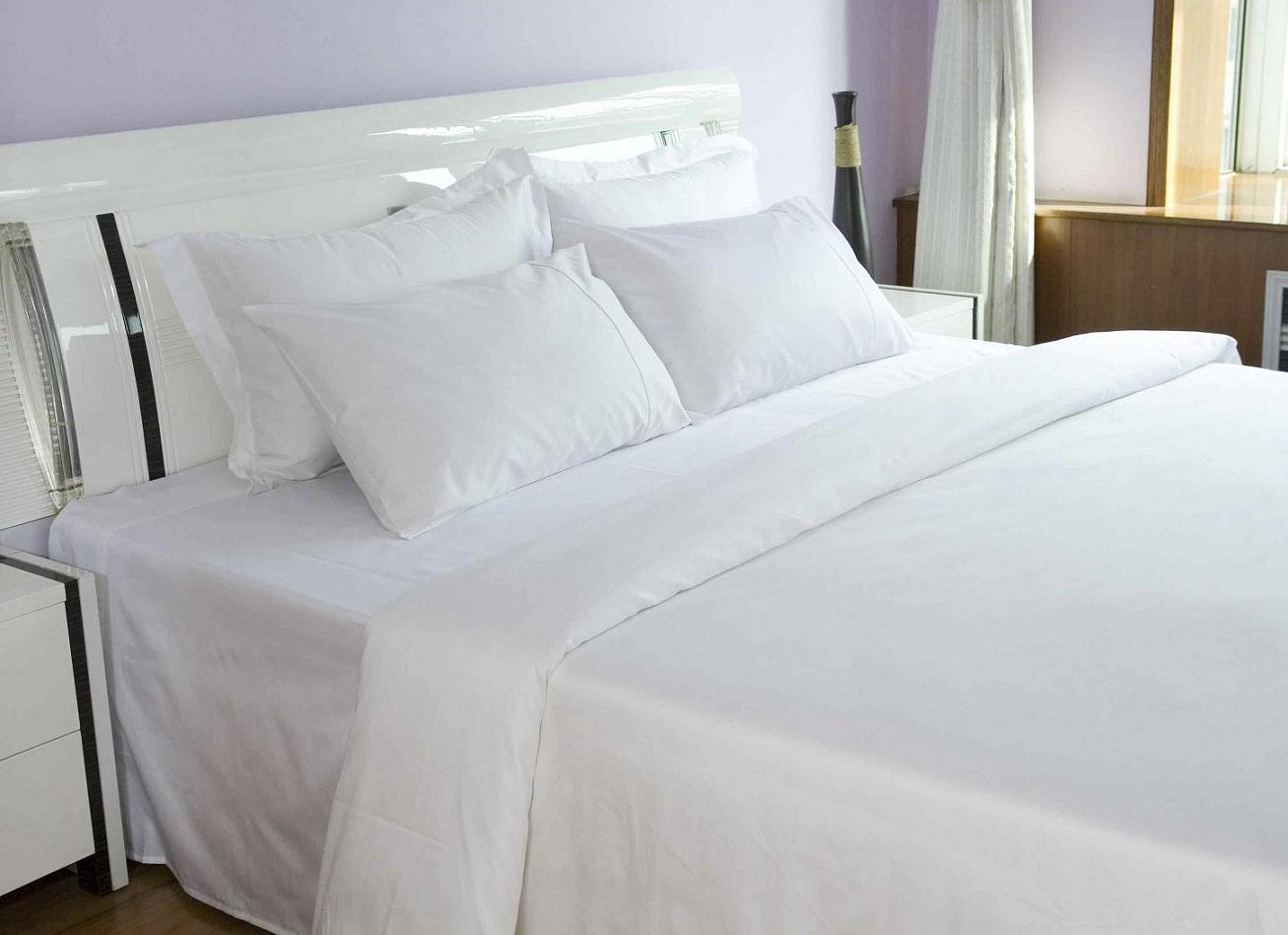 300T Satin Cotton Hotel Bedding Sheet, Hotel Bed Linen, Hotel Bed Sheet