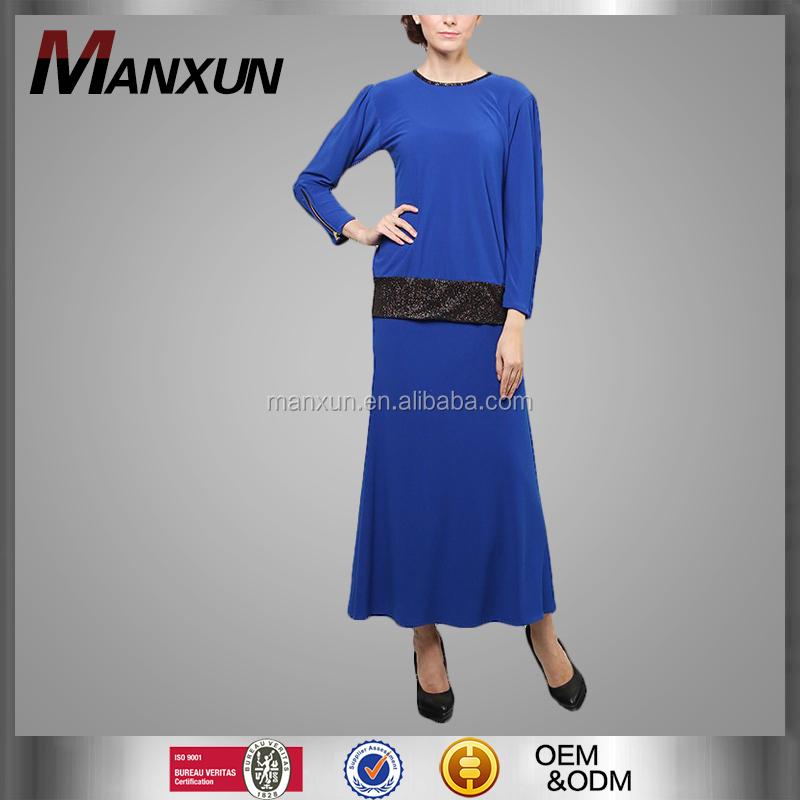 Traditional Malaysia Style Women Muslim Dress Zipper Sleeves Baju Kurung Islamic Clothing Dark Blue Kebaya Baju Malayu Buy Baju Kebaya Modern Baju
