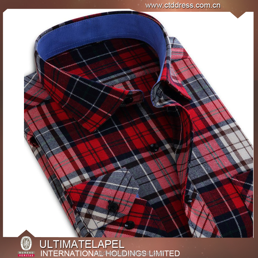 Custom made casual mens black and red check shirts for men