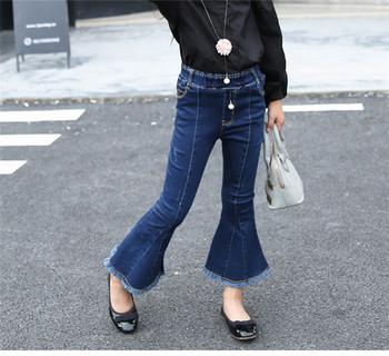 2017 Girls Wide Leg Denim Pants Spring Children Baby Trousers ...
