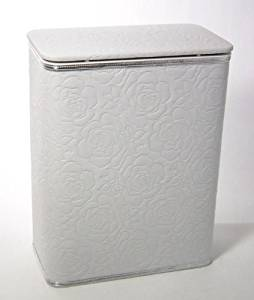 Traditional Times Quilted Vinyl Jumbo Hamper White Silver Trim
