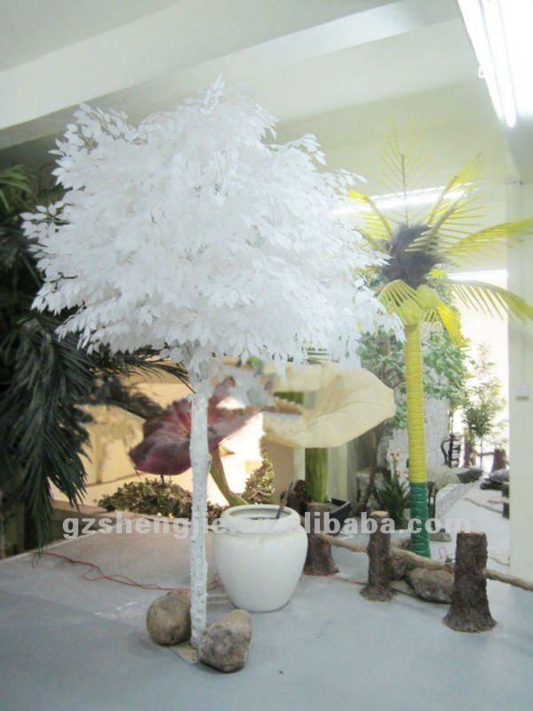 Sj qualit artificielle ficus avec feuilles blanches for Arbre artificiel pour interieur