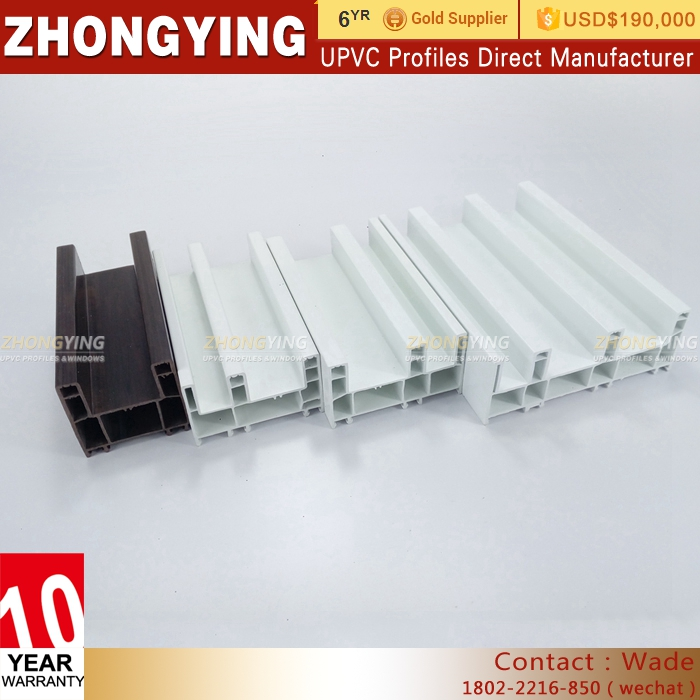 White Plastic Extrusion 4 Track Sliding Window Profile , Decorative Window Profile Pvc Manufacturer