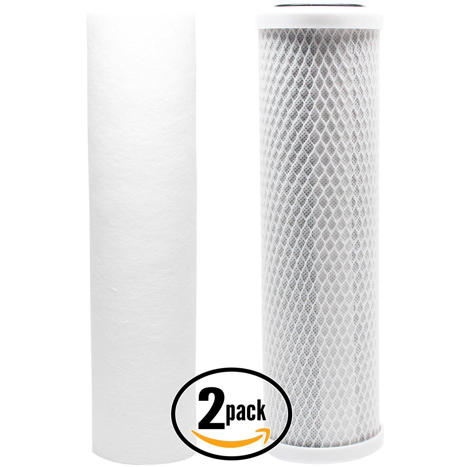 2-Pack Denali Pure Universal 10 inch Carbon Block, Sediment Filter - Compatible with iSpring RCC7, iSpring RCC7AK, iSpring RCS5T, iSpring RCC7P, iSpring RCC7AK-UV, AMPAC USA Reverse Osmosis